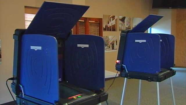 Two voting booths await voters at a polling place in Greenville County. (File/FOX Carolina)