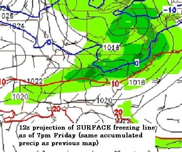 surface retreating cold with precipitation falling Friday 1pm to Fri 7pm