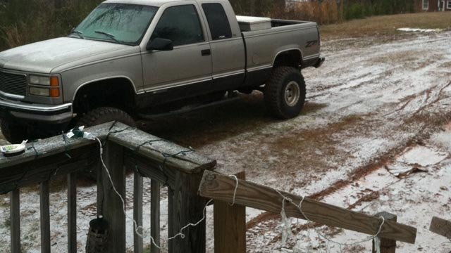 Sleet, ice covers one Pickens family's yard. (Jan. 25, 2013/FOX Carolina iWitness)