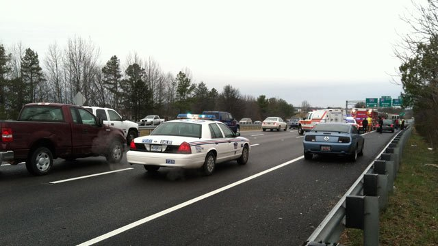Traffic backed up along Interstate 385 in Greenville after a crash. (Jan. 25/2013/FOX Carolina)