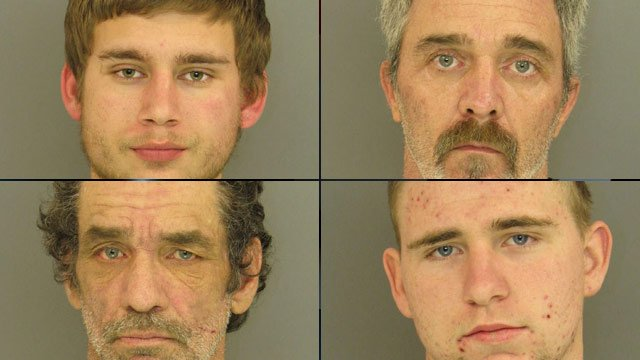 From top-left to bottom-right: Adam Clontz, Frank Evans, Terry Thrasher and Damien Tiller. (Anderson Co. Sheriff's Office)