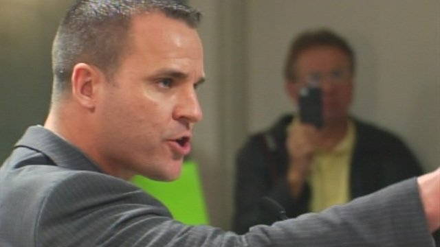Former Simpsonville Police Chief Keith Grounsell addresses the city council earlier in January where he demanded a grievance hearing. (File/FOX Carolina)