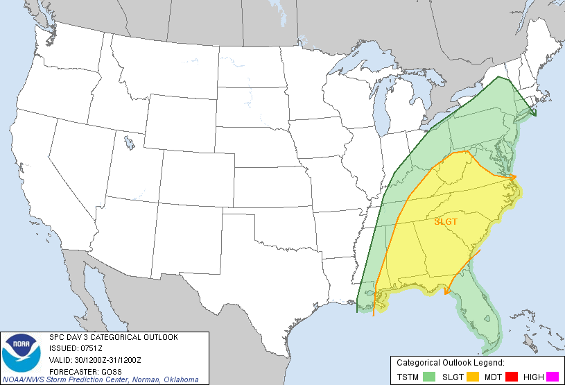 Severe risk in the yellow for Wednesday