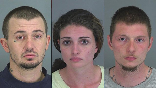 From left to right: Dean Stevens, Amber Rice and Donald Rice. (Spartanburg Co. Detention Center)