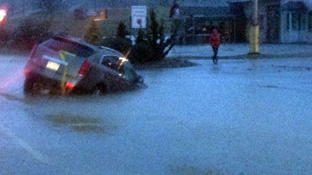 A car was under water in Etowah after heavy rains moved through the area. (Jan. 30, 2013/FOX Carolina)