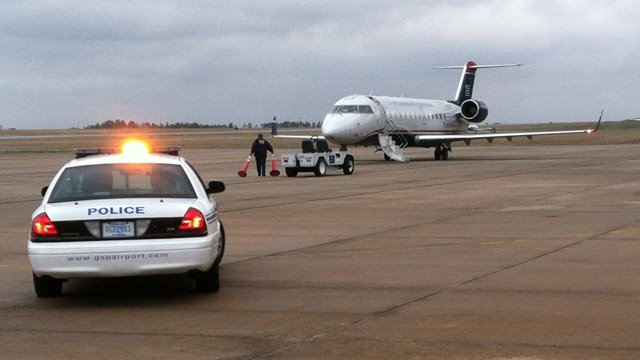 The US Airways flight that was diverted to GSP Wednesday morning. (Jan. 30, 2013/FOX Carolina)