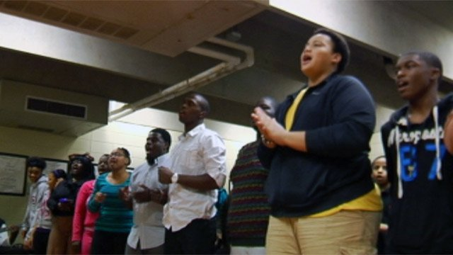 Current and former students rehearse for a tribute to Dwight Woods. (Jan. 29, 2013/FOX Carolina)