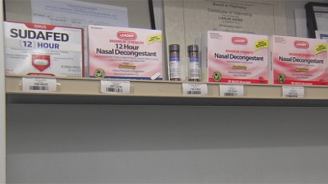 Cold medicines containing pseudoephedrine for sale at Pickwick Pharmacy. (Jan. 30, 2013/FOX Carolina)