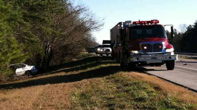 Emergency vehicles block off part of Interstate 26 after a fatal crash. (Jan. 31, 2013/FOX Carolina)