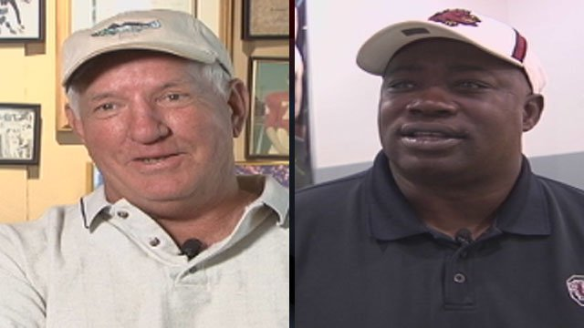Former Clemson head football coach Danny Ford (left) and Gamecock Heisman Trophy winner George Rogers. (File/FOX Carolina)
