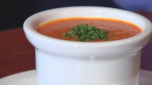 A cup of Mimi's signature soup offered for free on Wear Red Day for American Heart Month. (Feb. 1, 2013/FOX Carolina)