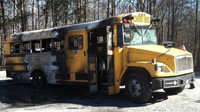 The burned out school bus. (Feb. 1, 2013/FOX Carolina)