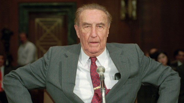 Sen. Strom Thurmond, R-S.C., takes his seat prior to a committee hearing, Tuesday Jan. 17, 1995 on Capitol Hill. (AP Photo/John Duricka)