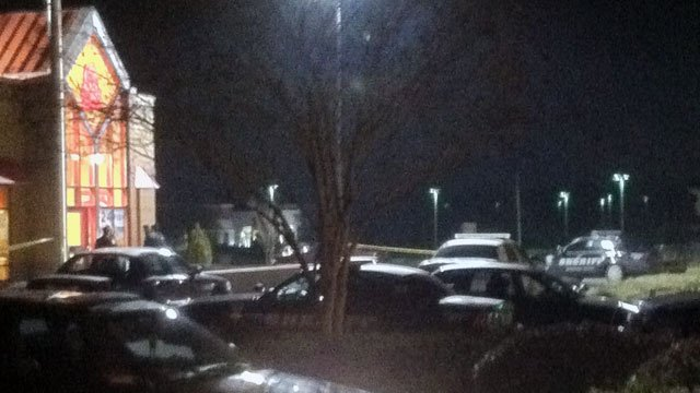 Deputies outside of the Arby's restaurant after an armed robbery Tuesday. (Feb. 5, 2013/FOX Carolina iWitness)