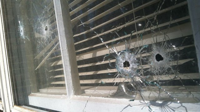 Bullet holes left behind in the Dover Road apartment's window. (Feb. 6, 2013/FOX Carolina)
