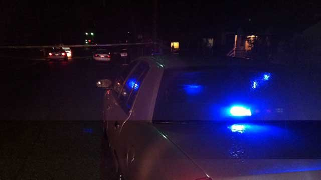 Several police cars were parked at the scene of a shooting on Potomac Avenue in Greenville. (Feb. 7, 2013/FOX Carolina)