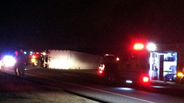 The overturned semi truck blocks Brockmon McClimon Road at Highway 101. (Feb. 8, 2013/FOX Carolina)