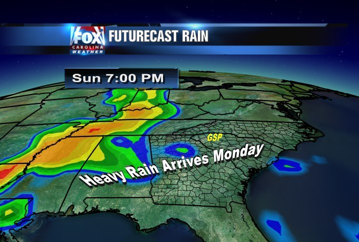 Heavy rain is poised to move in late Sunday into Monday AM