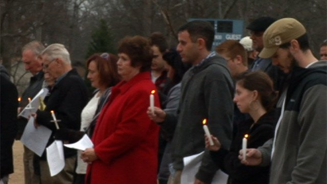 Family and friends hold a vigil for Wesley Swilling in Mauldin. (Feb. 10, 2013/FOX Carolina)