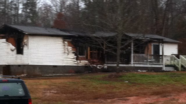 The fire-damaged home on Kilgore Road. (Feb. 11, 2013/FOX Carolina)