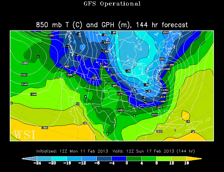 GFS model showing an arctic blast for this weekend