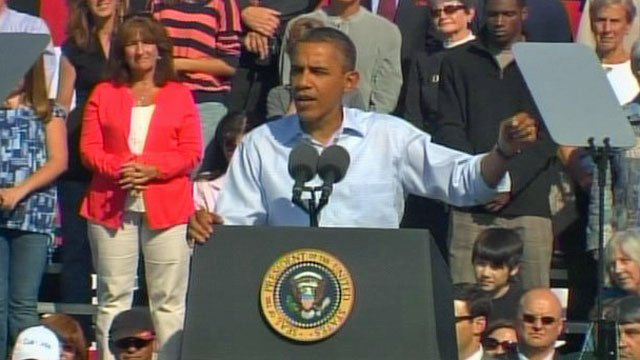 President Barack Obama delivers a speech at the Asheville Regional Airport. (Oct. 17, 2011/FOX Carolina)