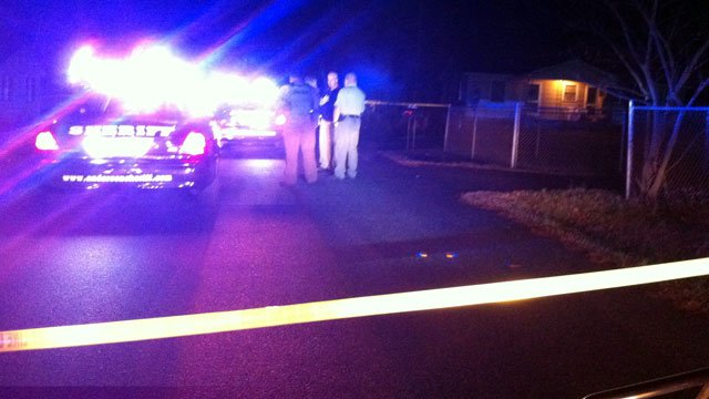 Emergency lights flash at the scene of a double-fatal shooting in Anderson County. (Feb. 11, 2013/FOX Carolina)