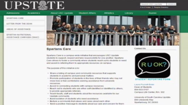 A screen grab of USC Upstate's RU OK and Spartans Care page. (Feb. 11, 2013/FOX Carolina)
