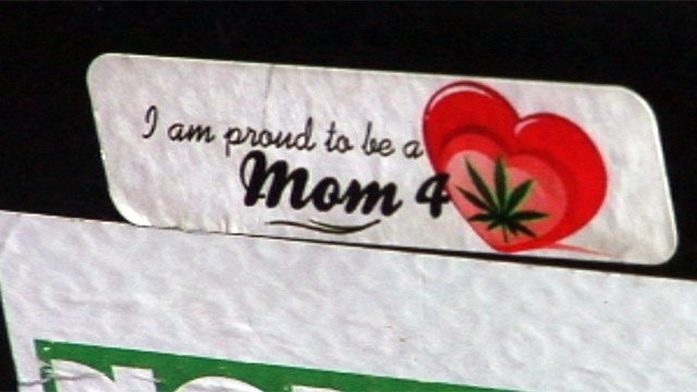 "A ""Moms For Marijuana"" sticker. (File/FOX Carolina)"