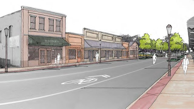 A proposed plan for the renovated streetscape of Main Street in Duncan. (Courtesy Stewart Inc.)