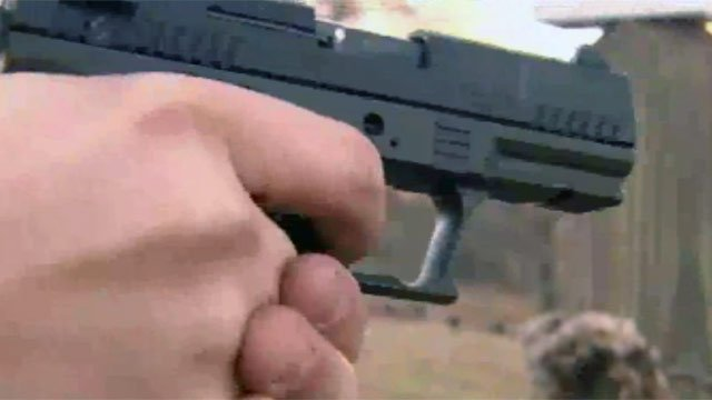A gun is pointed at a target at a firing range. (File/FOX Carolina)