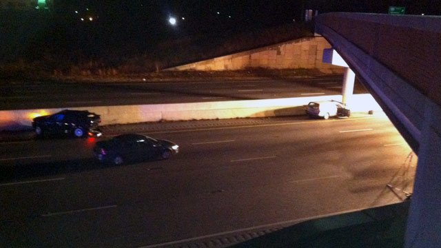 Two cars were involved in a fatal crash along Interstate 385 Wednesday morning. (Feb. 13, 2013/FOX Carolina)