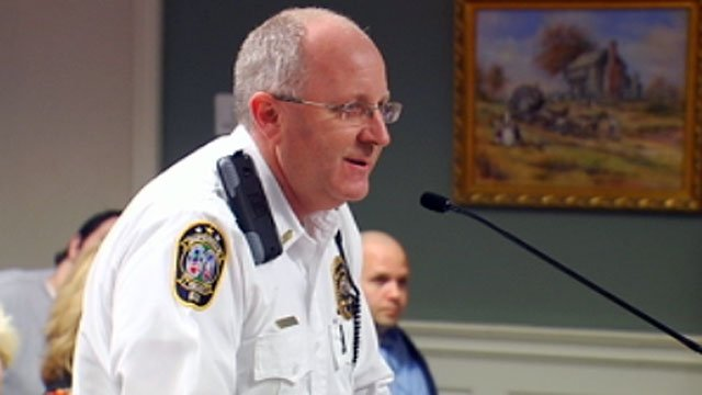 Steve Moore addresses the Simpsonville City Council during a meeting. (Feb. 12, 2013/FOX Carolina)