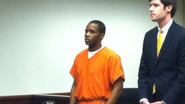 Sam Young appears in court with his defense attorney. (Feb. 14, 2013/FOX Carolina)