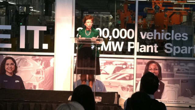 U.S. Deputy Secretary of Commerce Rebecca Blank talks at the Greer BMW plant. (Feb. 15, 2013/FOX Carolina)