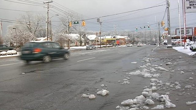 An Upstate road is left wet and icy after the snow melts. (Feb. 16, 2013/FOX Carolina)