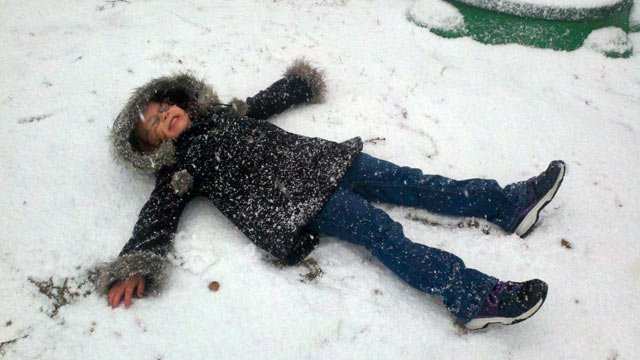 Kids and families enjoyed the snow on Saturday, with a enough to make a snow angel. (Feb. 16, 2013/FOX Carolina iWitness)