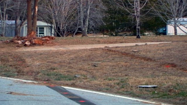 Where troopers say the driver ran off the road and into the tree. (Feb. 17, 2013/FOX Carolina)