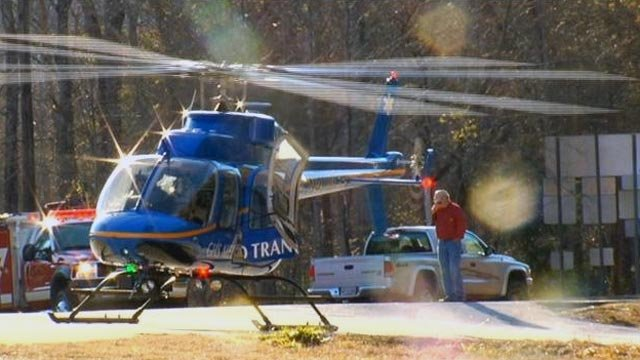 The helicopter transports the wounded girl and father to the airport. (Feb. 17, 2013/FOX Carolina)