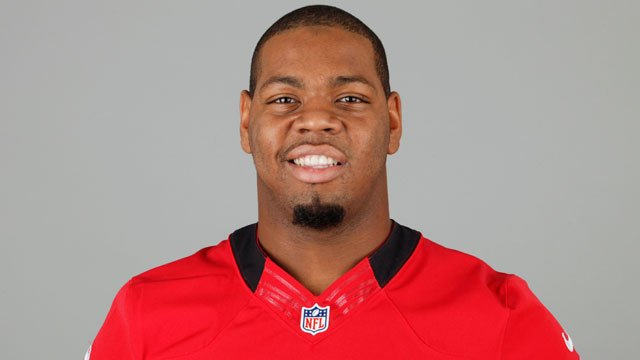 This is a 2012 photo of Da'Quan Bowers of the Tampa Bay Buccaneers NFL football team. (AP Photo)