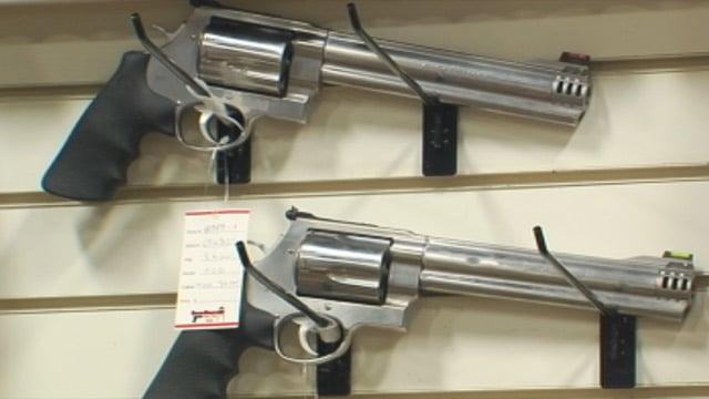 Guns for sale at Sharp Shooters in Greenville. (Feb. 18, 2013/FOX Carolina)