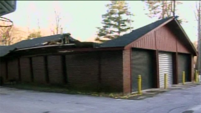 The roof of the River Falls Fire Dept. remains caved in. (Feb. 18, 2013/FOX Carolina)