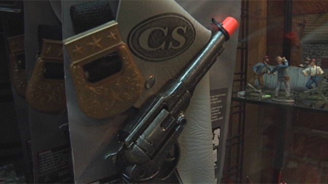 A toy gun for sale at O.P. Taylor's Toy Store in downtown Greenville. (Feb. 18, 2013/FOX Carolina)