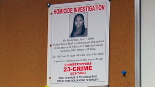 A Crime Stoppers flyer for NiShan Huff's unsolved case. (File/FOX Carolina)