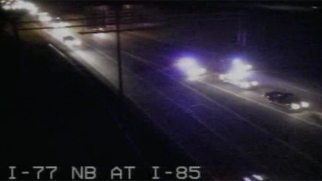 NCDOT cameras show the low-speed chase on I-77 in Charlotte. (NCDOT/WSOC)