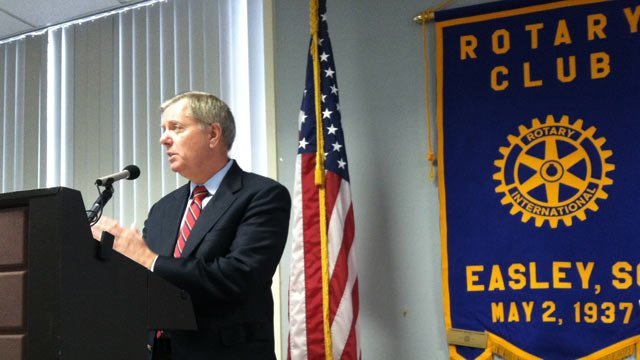 South Carolina Sen. Lindsey Graham (R) addresses the Easley Rotary Club. (Feb. 19, 2013/FOX Carolina)