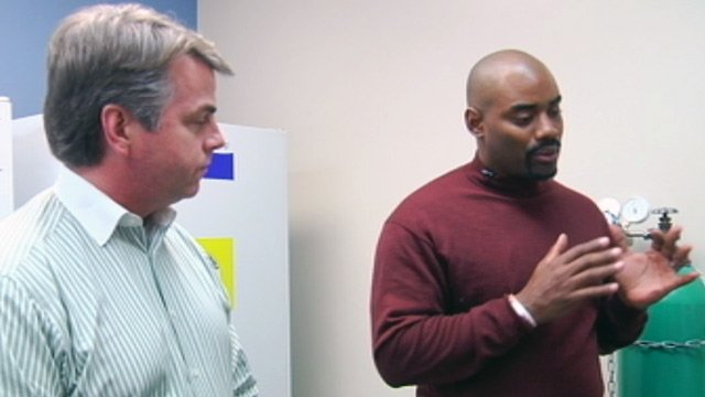 Chris Draft (right) visits ITOR. (File/FOX Carolina)