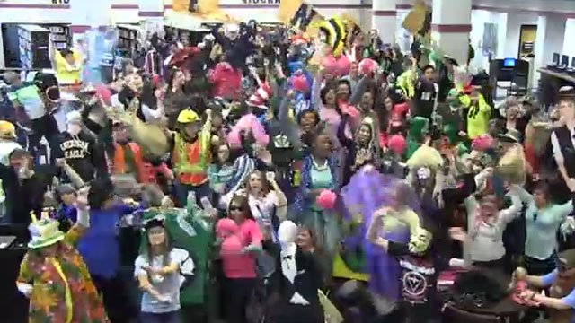 "Gaffney High School students dance the ""Harlem Shake."" (YouTube)"