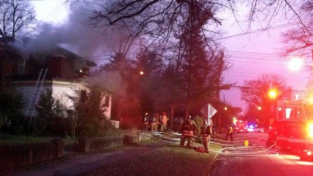 Smoke rises from a home in downtown Greenville. (Oct. 20, 2013/FOX Carolina)