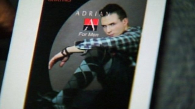 A pair of Adrian For Men's meggings, or men tights. (Feb. 21, 2013/FOX Carolina)